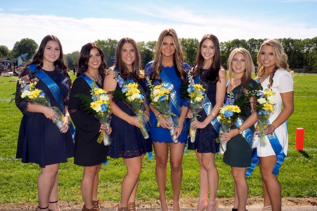 2015 Homecoming Court. From left to right: Emily Braisted, Jenna Di Marco, Alexa McFadden, Nikki Sacco, Jen Vatnik, Taylor Spiewack, and Gianna Zamarra.