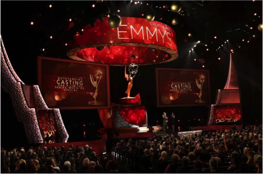 The stage of the 2016 Emmy Awards