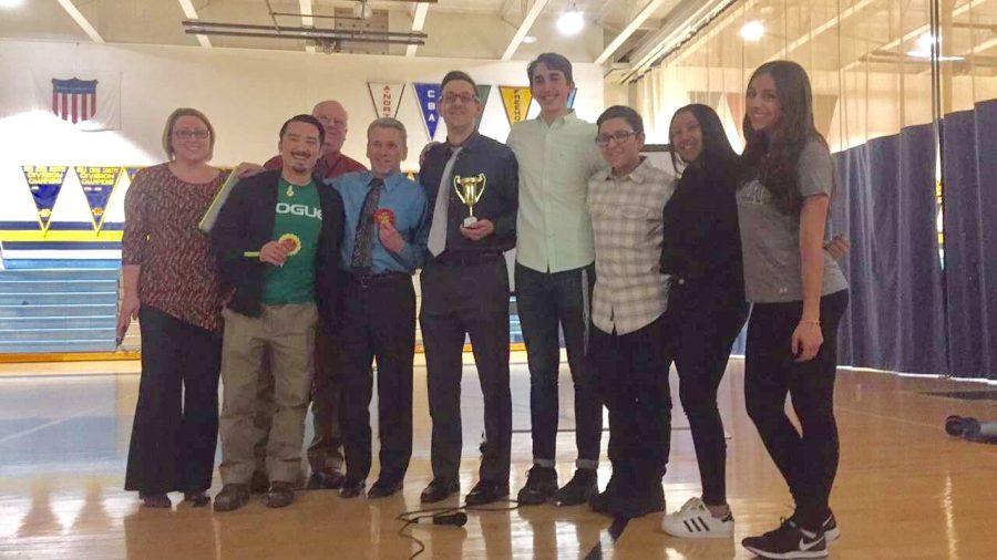 From L-R:  Ms. Berryman, Mr. Son, Dr. Malik, Mr. Uplinger, Mr. Sauter, Josh Levy (Host), and Brandon Buscanera, Nadine Djailani, and Danielle Spano (WTP Students)